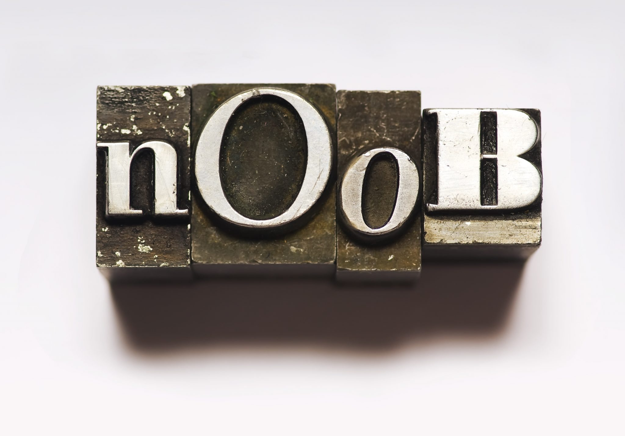"The word ""Noob"" photographed using vintage type characters. Cross-processed for a different look."